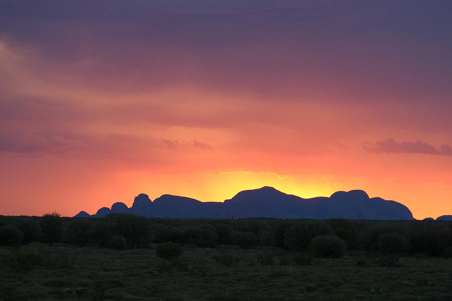 Sunset silhouette of Kata Tjuta in the Northern Territory by Keiran Lusk