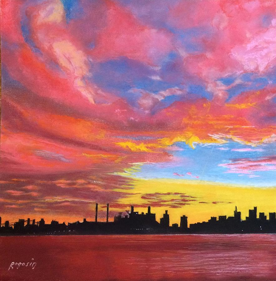 Landscape Painting - Sunset Silhouette...a Rainbow Of Colors by Harvey Rogosin