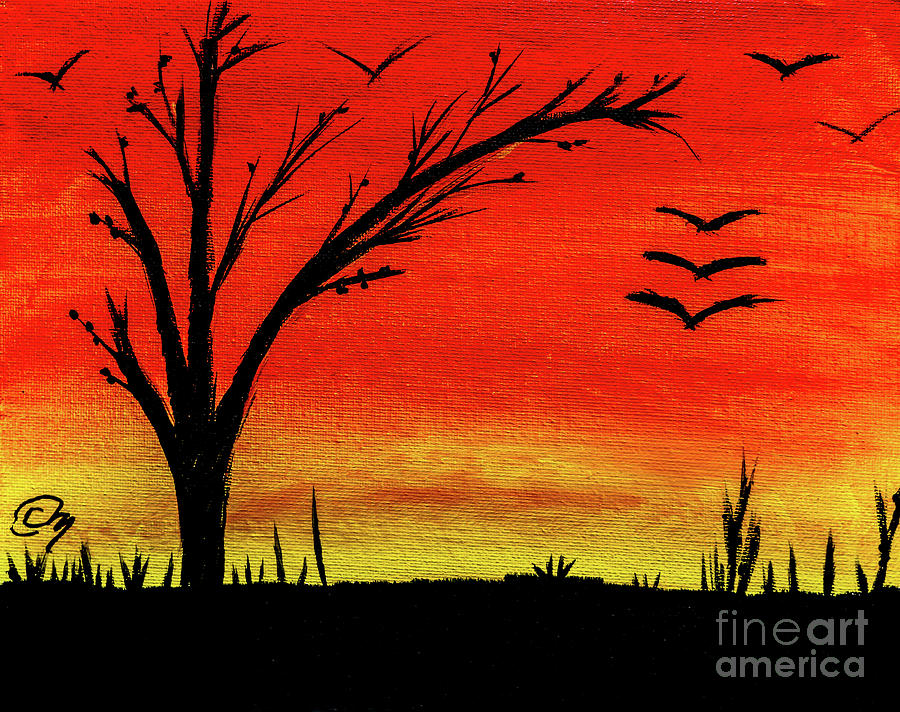 Sunset Silhouettes On Acrylic Painting by Claudia M