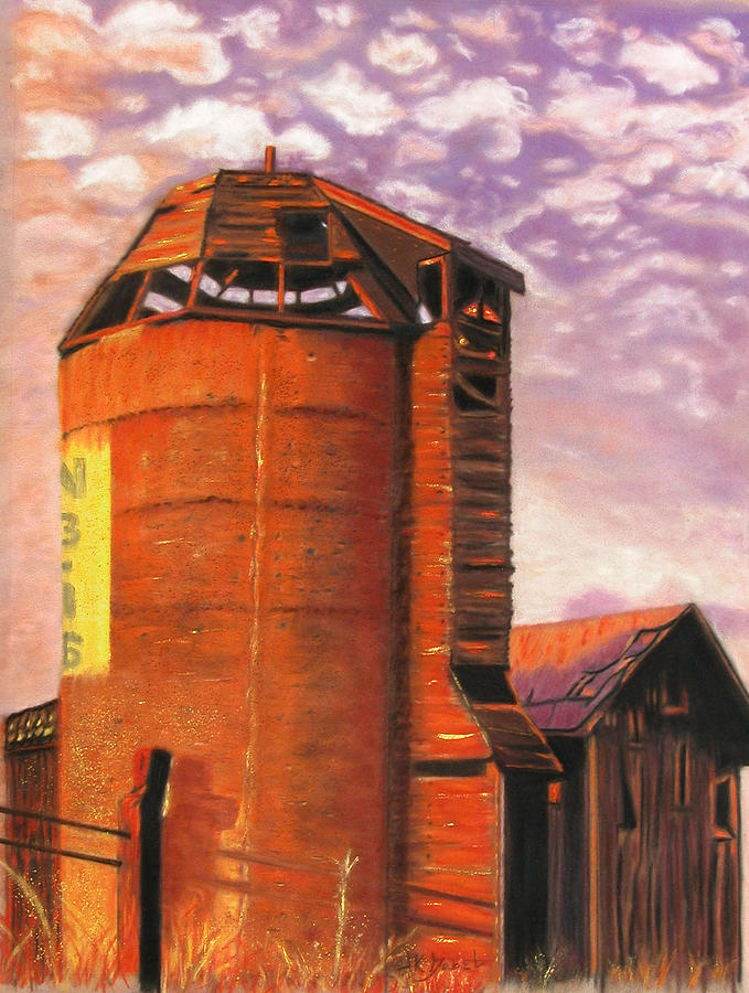 Americana Pastel - Sunset Silo by Laura Gabel