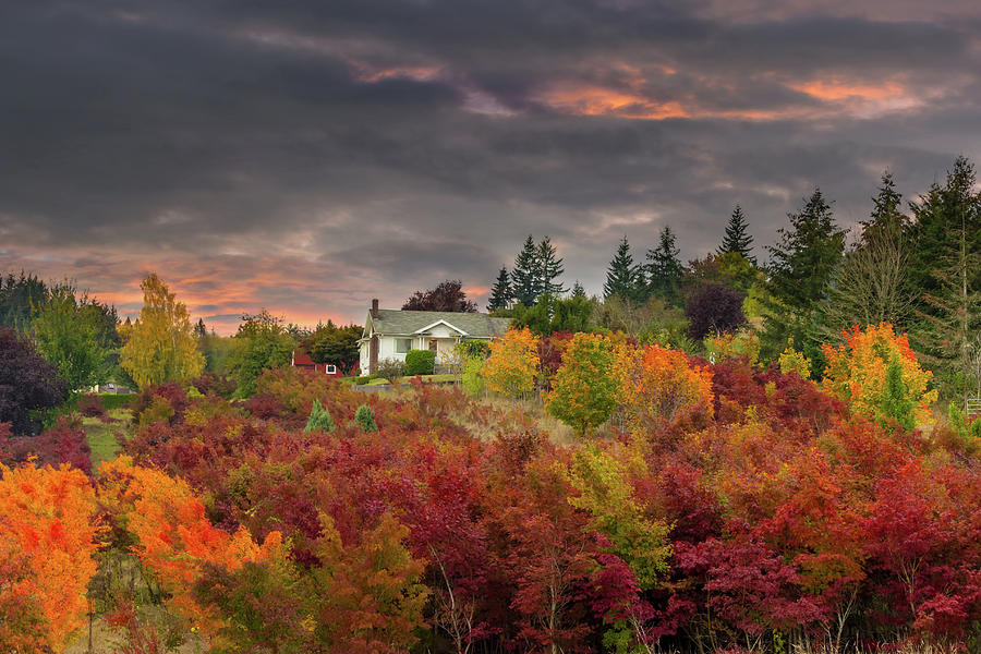 Farmland Photograph - Sunset Sky over Farm House in Rural Oregon by David Gn