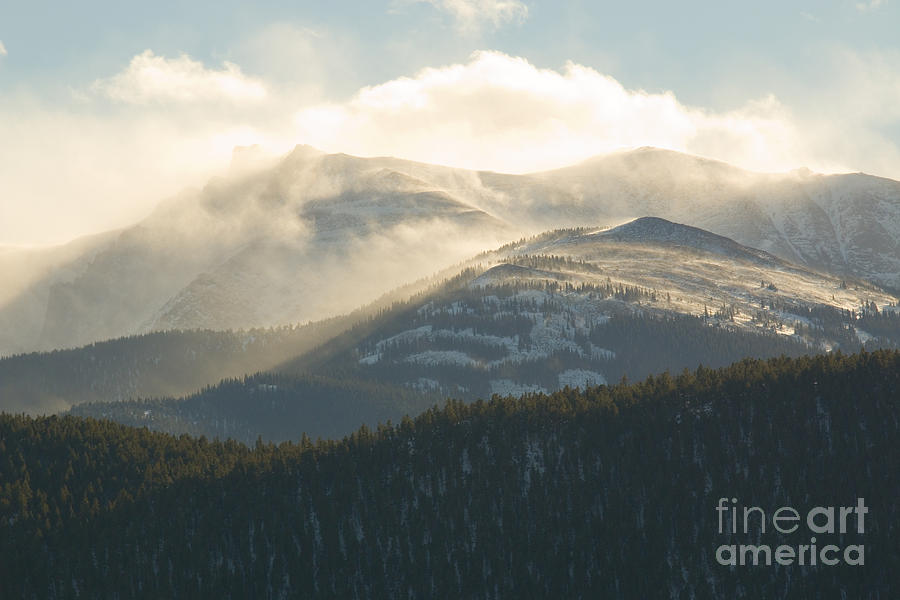 Sunset Storm And Wind On Pikes Peak Colorado Photograph