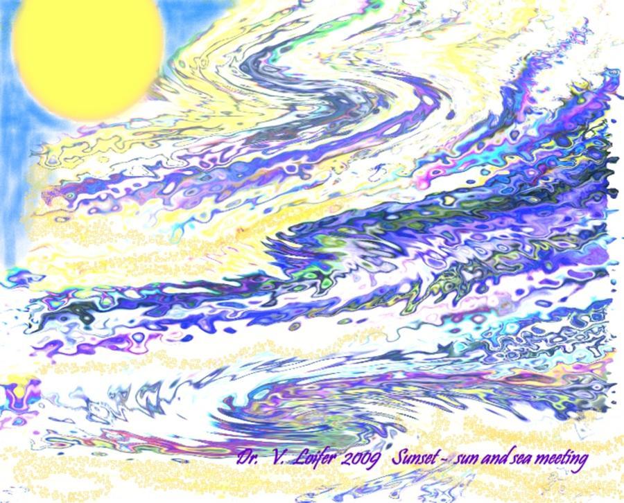 Sun Digital Art - Sunset-sun And Sea Meeting by Dr Loifer Vladimir