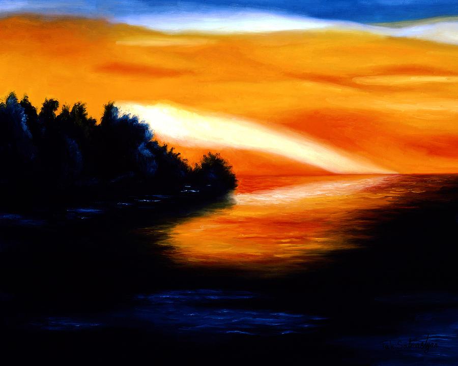 Landscape Painting - Sunset by Tak Salmastyan