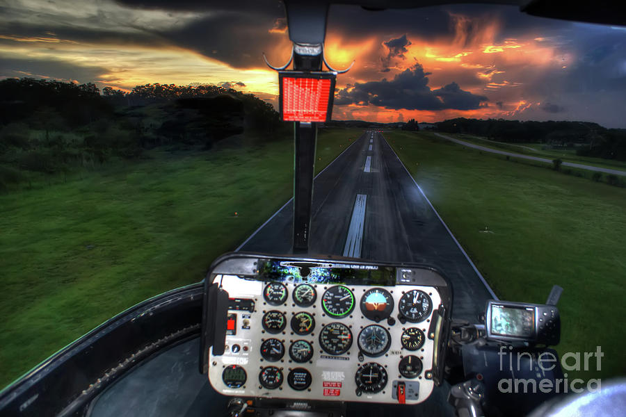 Helicopter Photograph - Sunset Takeoff by Rick Mann