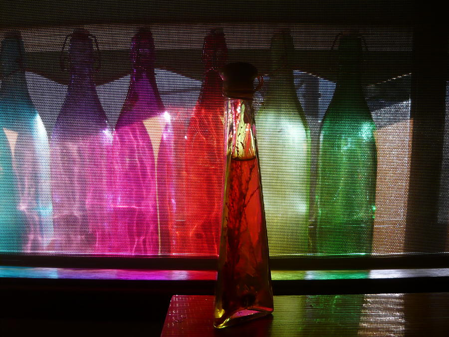 Still Life Photography Photograph - Sunset Through Glass Bottles by Adrianne Wood
