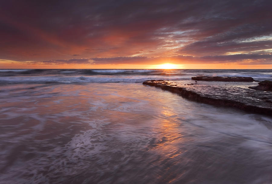A Glorious Sunset Off The Coast Of San Diego Photograph - Sunset Tides by Mike  Dawson