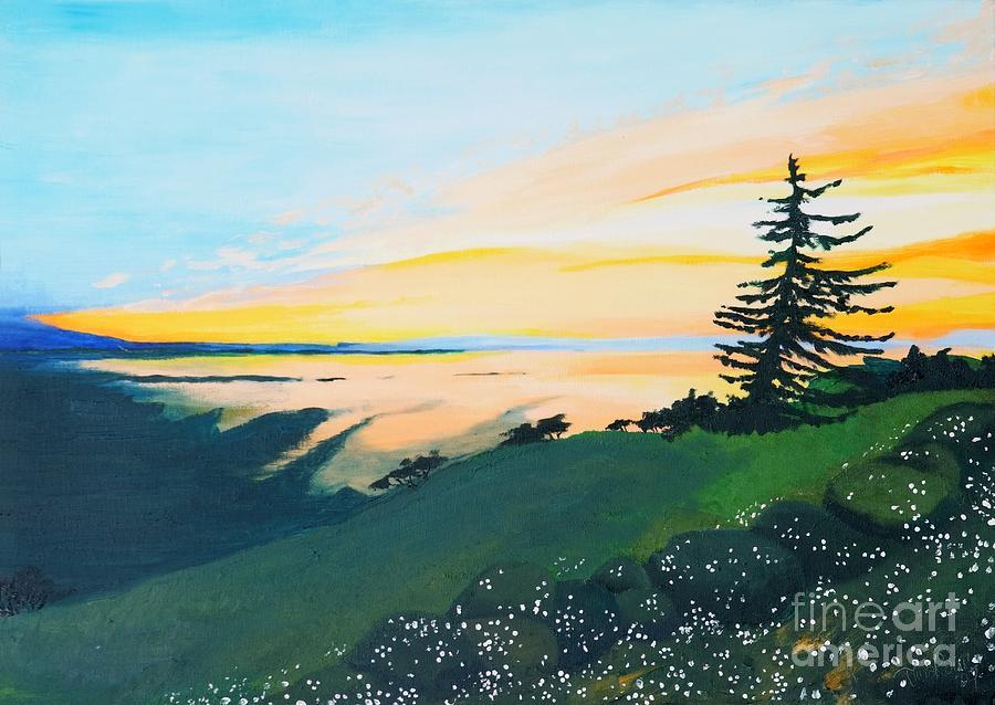 Landscape Painting - Sunset by Tiina Rauk