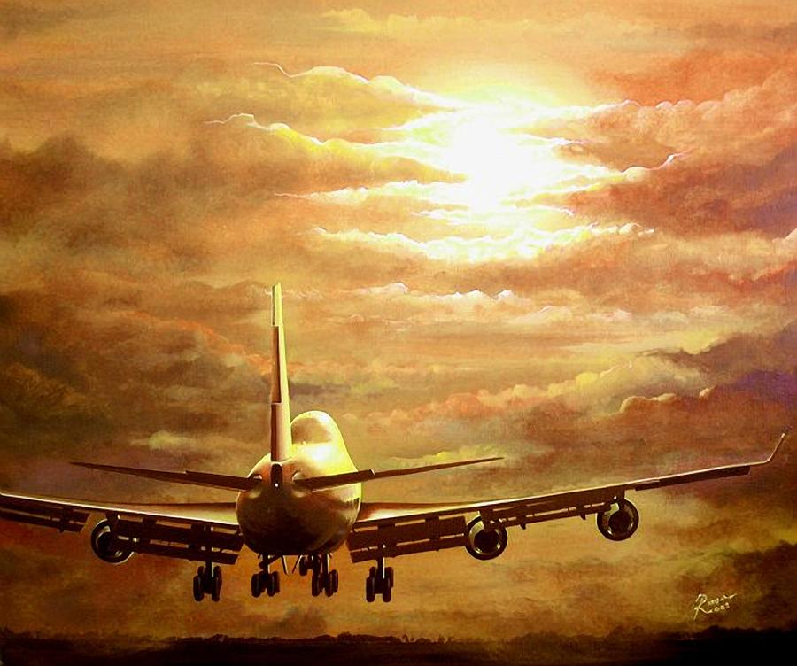 747 Painting - Sunset Touchdown by Peter Ring Sr