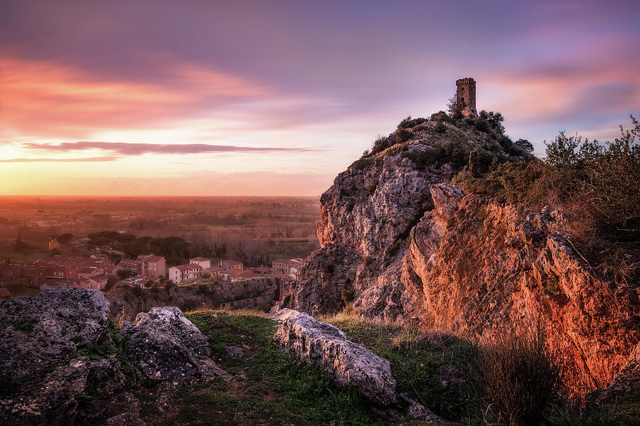 Sunset Tower - the Tower of Caprona near Pisa at sunset by Matteo Viviani