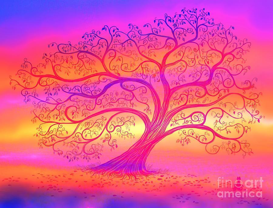 Sunset Painting - Sunset Tree Cats by Nick Gustafson