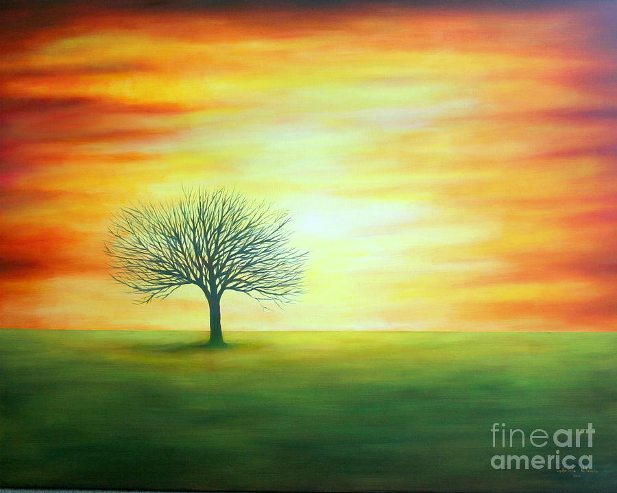 Sunset Tree Painting By Gabriela Valencia