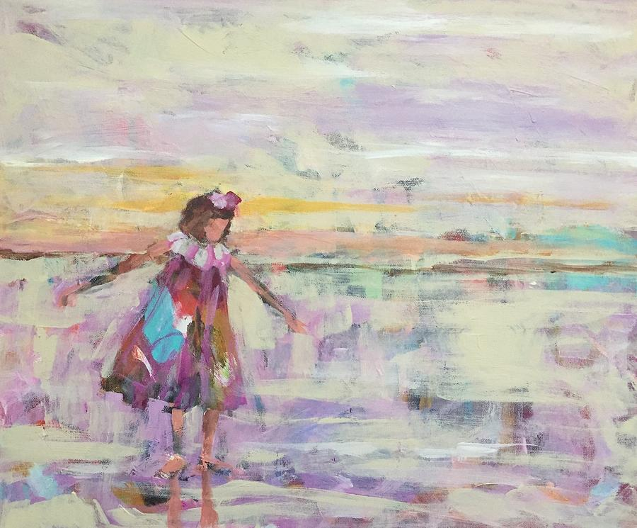 Beach Painting - Sunset Twirling by Molly Wright