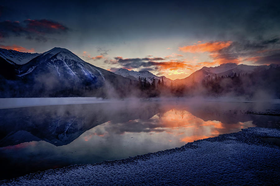 Alberta Photograph - Sunset, Vermilion Lakes by Peter OReilly
