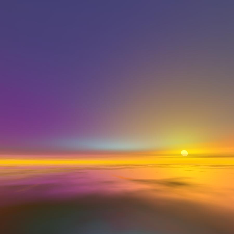 Sunrise Digital Art - Sunset View In Stratosphere by Taketo Takahashi