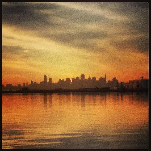 Sunset view of SF from ferry by Nimmi Solomon