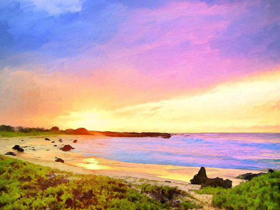 Hawaii Painting - Sunset Walk by Dominic Piperata