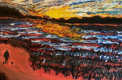 Sunset Walk Painting by Ira Stark