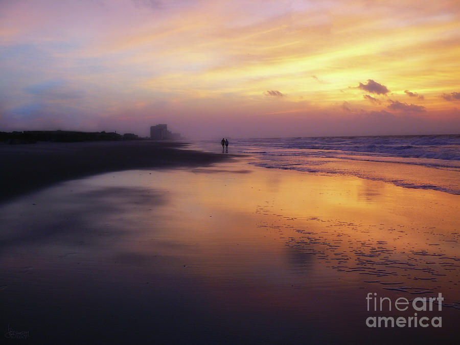 Sunset Walk On Myrtle Beach by Jeff Breiman