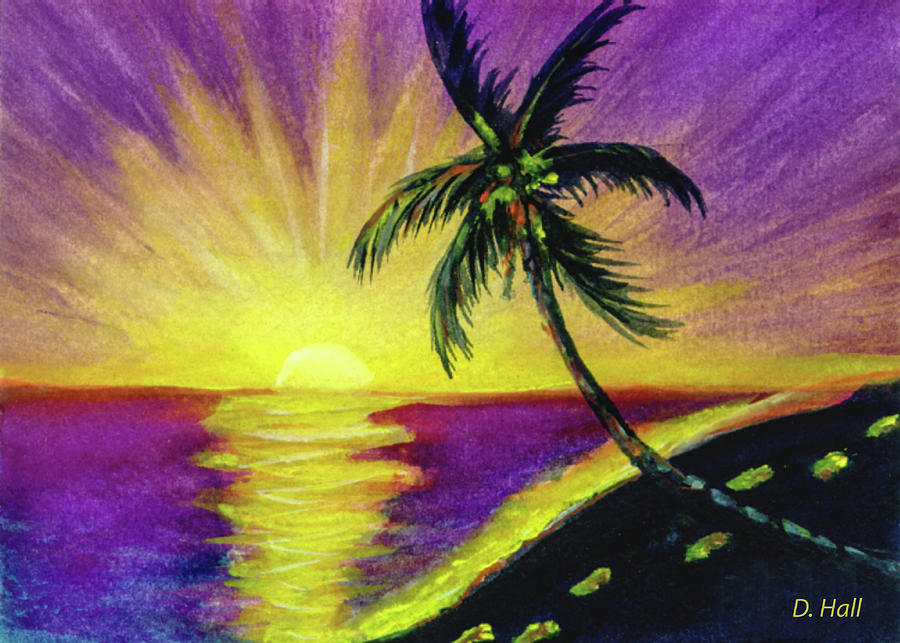 Hawaii Sunset Painting - Sunset Water Color Footprints #26 by Donald k Hall
