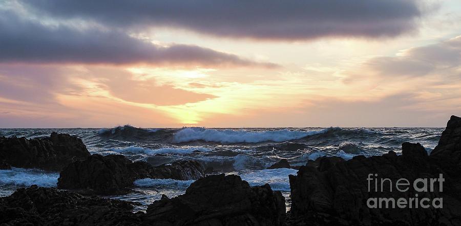 Sunset Waves, Asilomar Beach, Pacific Grove, California #30431 by John Bald