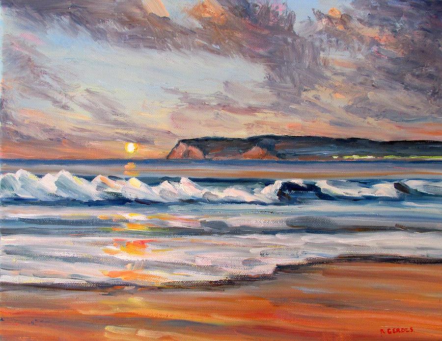 24882c0788 Sunset Waves Coronado Beach Painting by Robert Gerdes