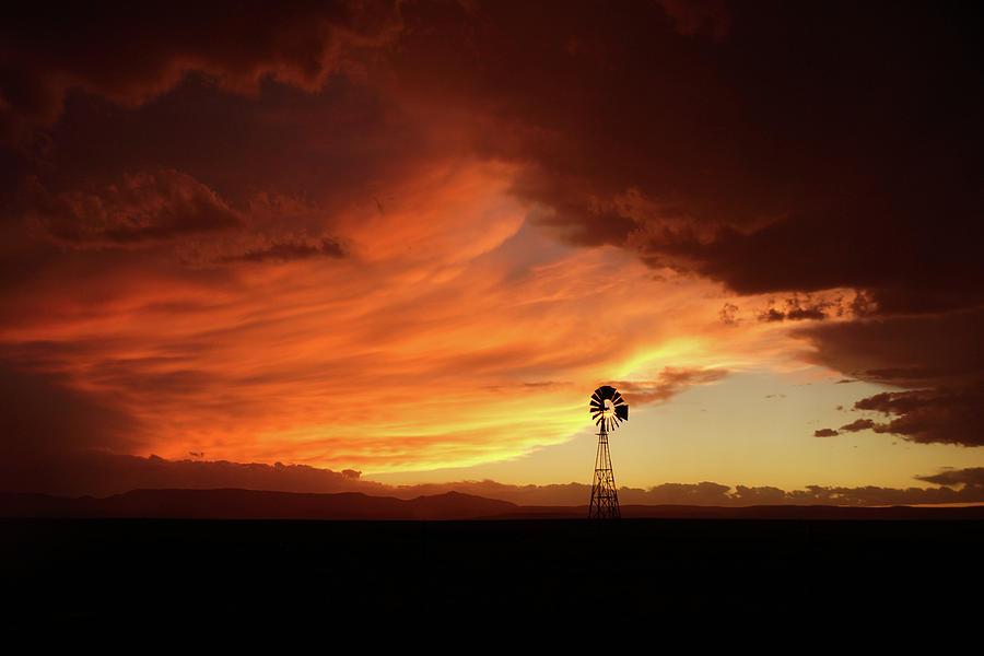 Sunset Windmill Fire by Julie Carter