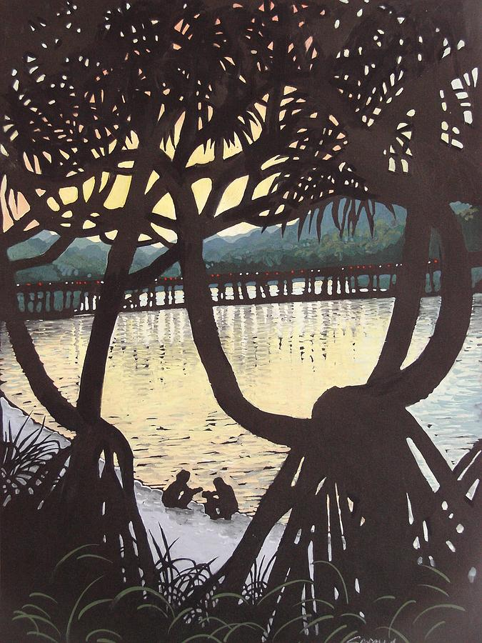 Landscape Painting - Sunset Windows by Serena Valerie Dolinska