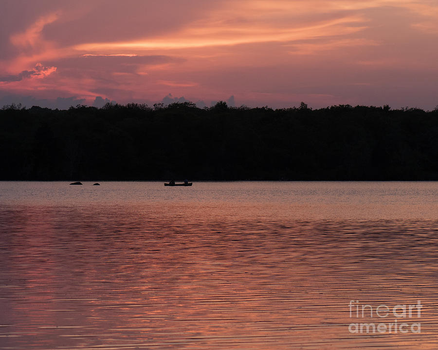 Sunset With Canoe Photograph