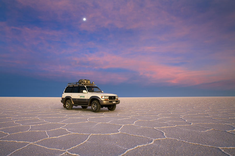 Lake Uyuni Sunset with Car by Aivar Mikko