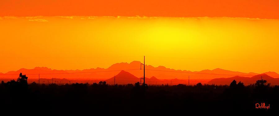 Sunset Digital Art - Sunset With Power Pole by Rick Lloyd