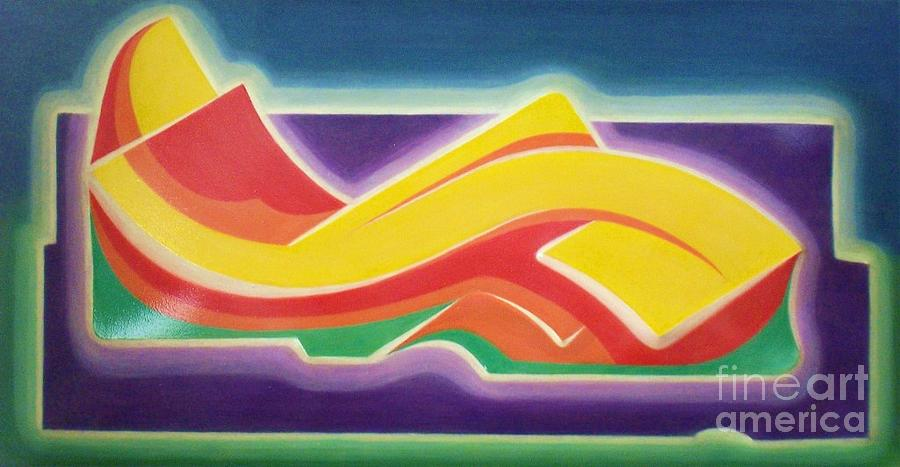 Abstract Painting - Sunset With Reclined Figure by Joel M Perez