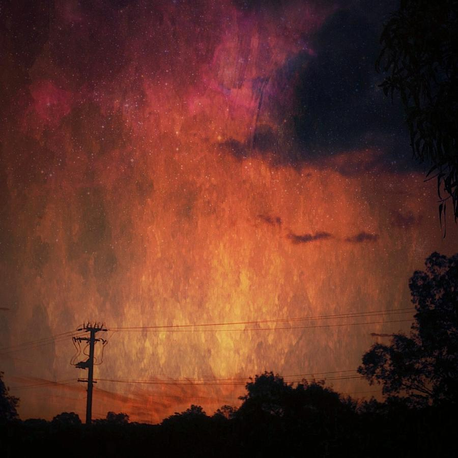Iphoneography Photograph - Sunset With Telegraph Pole by AlyZen Moonshadow