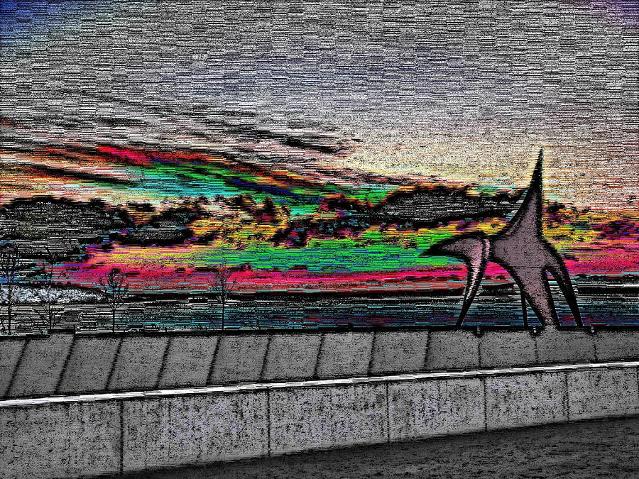Sunset Digital Art - Sunset With The Eagle by Tim Allen