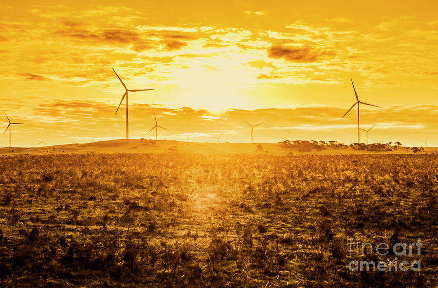 Tasmania Photograph - Sunsets And Golden Turbines by Jorgo Photography - Wall Art Gallery