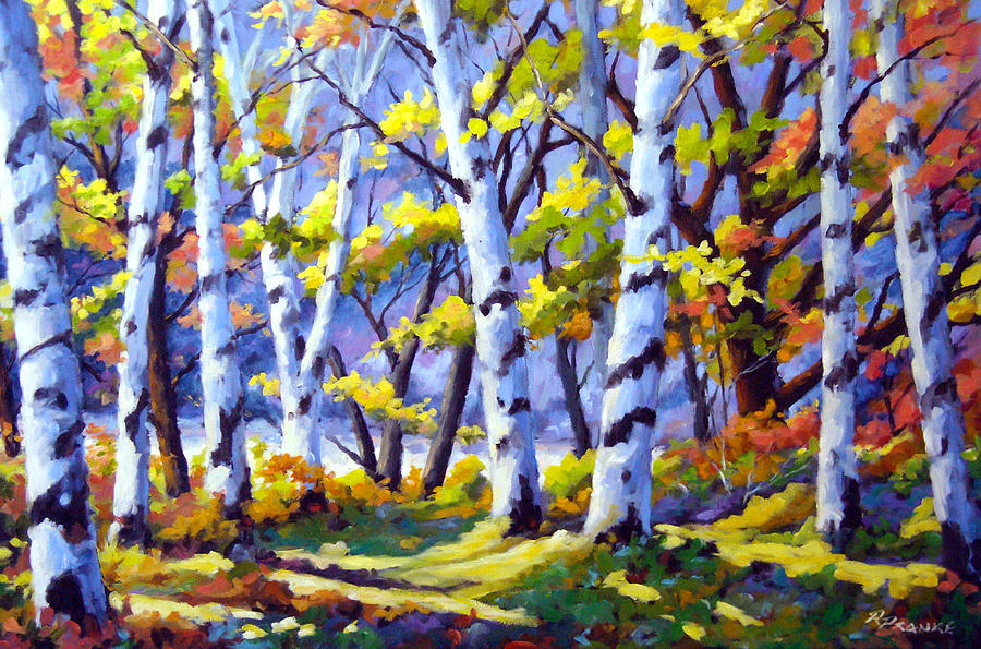 Painting Painting - Sunshine And Birches by Richard T Pranke