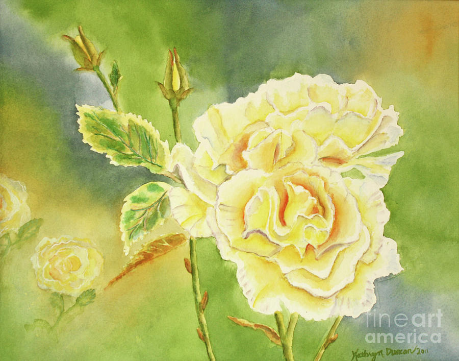 Yellow Painting - Sunshine And Yellow Roses by Kathryn Duncan