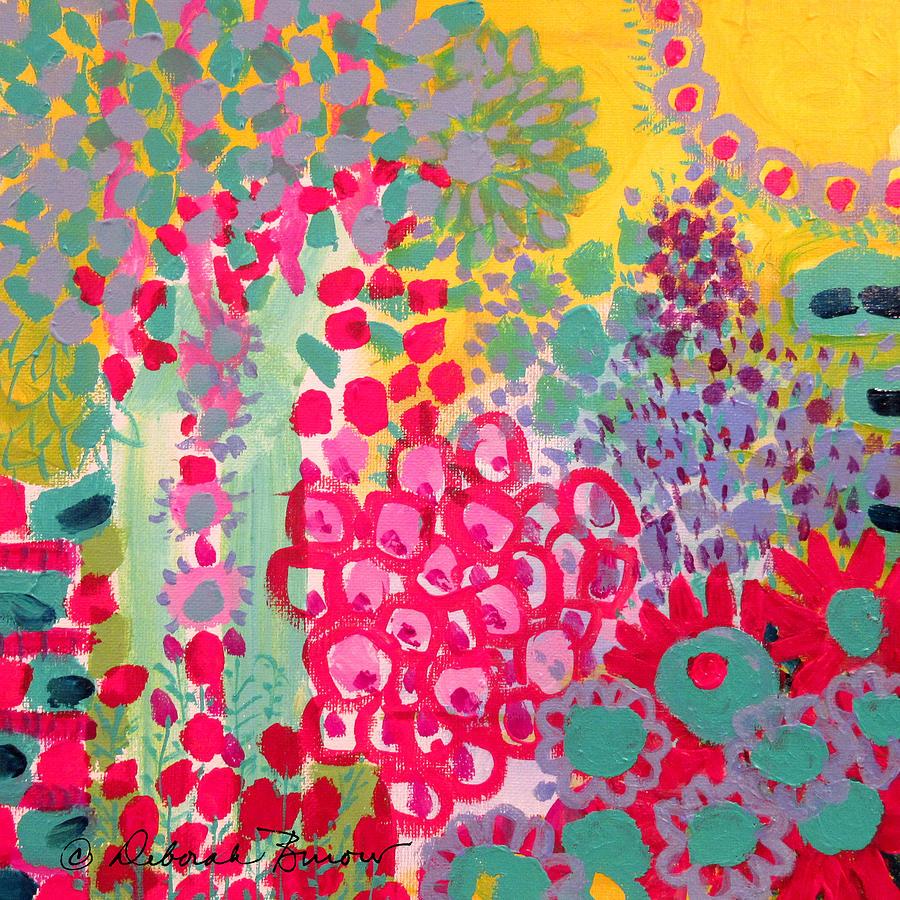 Turquoise Painting - Sunshine Garden by Deborah Burow