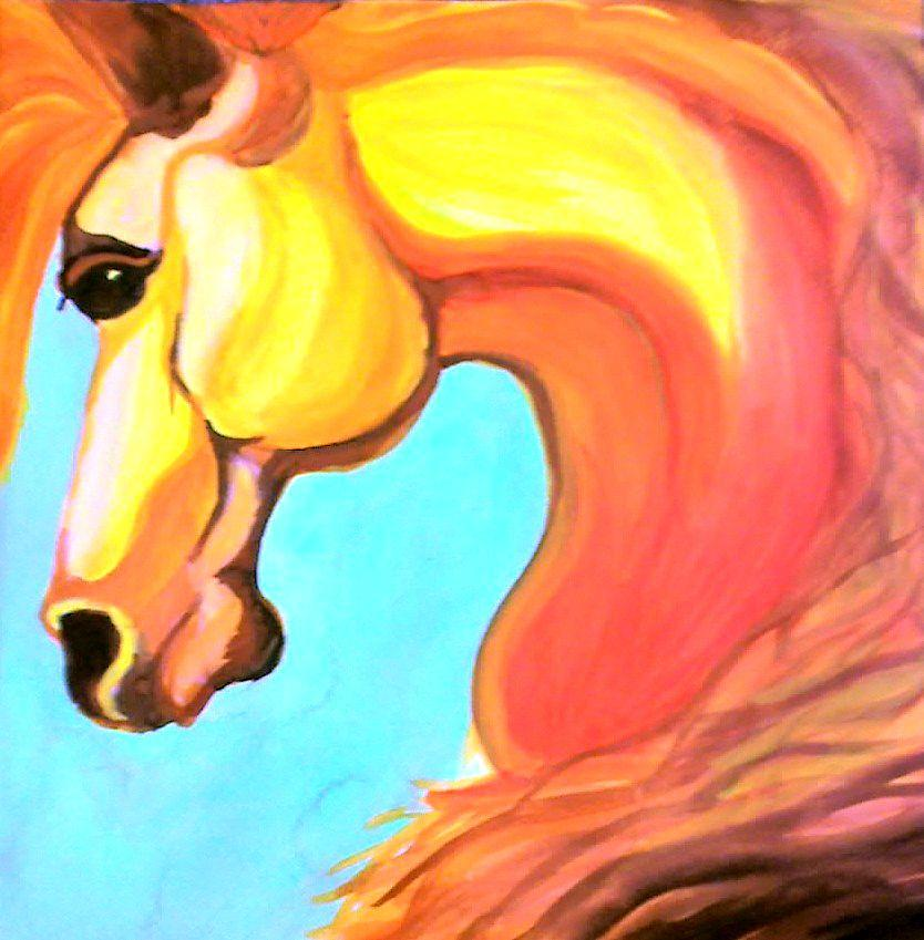 Horse Painting - Sunshine Horse by Eniko Tanyi