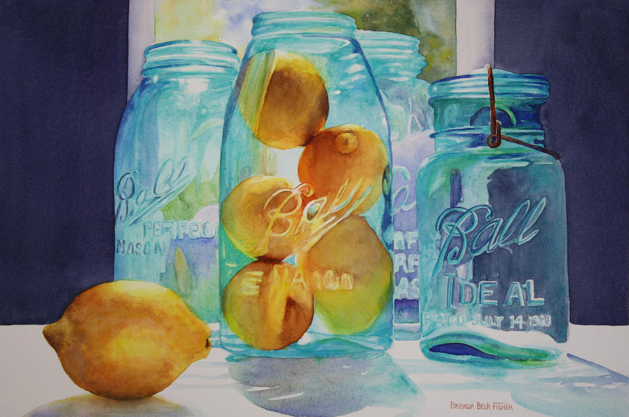 Ball Canning Jars Painting - Sunshine In A Jar by Brenda Beck Fisher