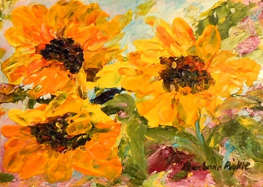 Sunflowers Painting - Sunshine On A Cloudy Day by Barbara Pirkle
