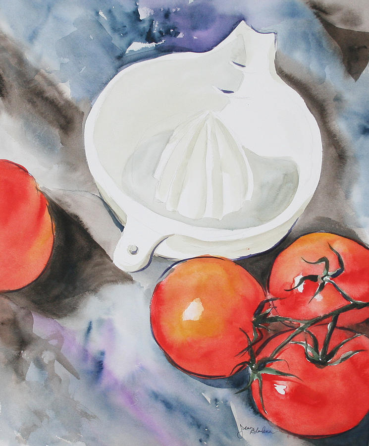 Tomatoes Painting - Sunshine On The Vine by Jean Blackmer