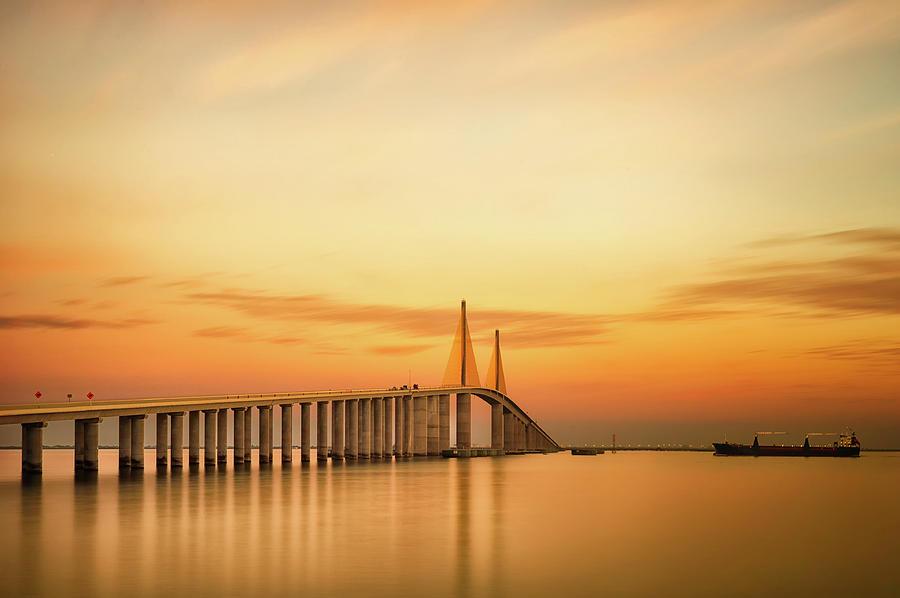 Horizontal Photograph - Sunshine Skyway Bridge by G Vargas