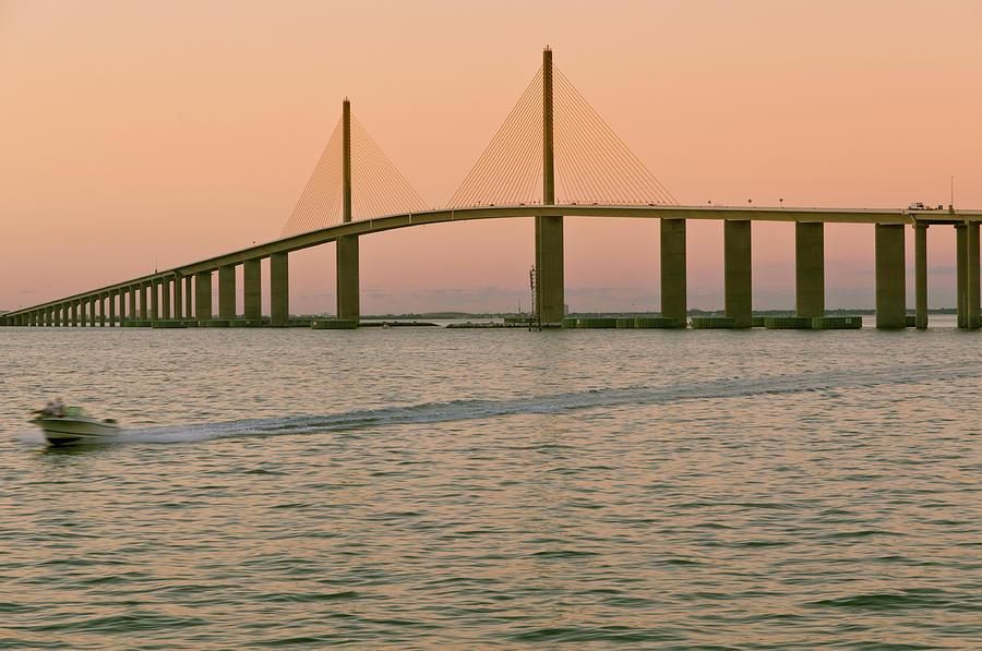 Horizontal Photograph - Sunshine Skyway Bridge by Ixefra