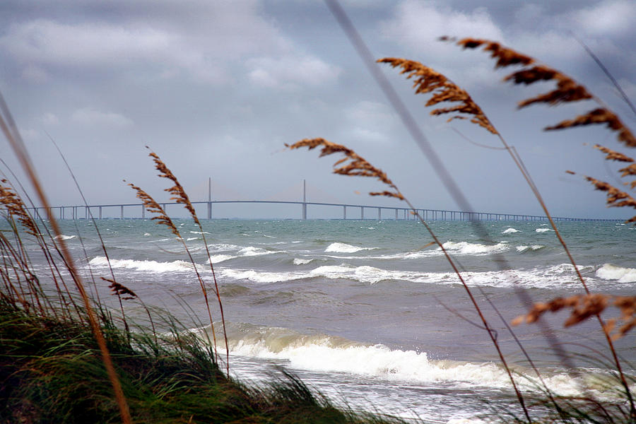 Sunshine Photograph - Sunshine Skyway Bridge Viewed From Fort De Soto Park by Mal Bray