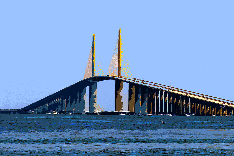 Sunshine Skyway Bridge Painting - Sunshine Skyway Summer by David Lee Thompson