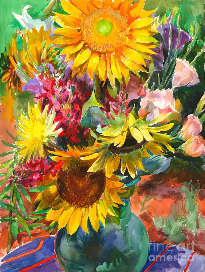 Yellow Painting - Sunshine Sunflowers by Alan Singer