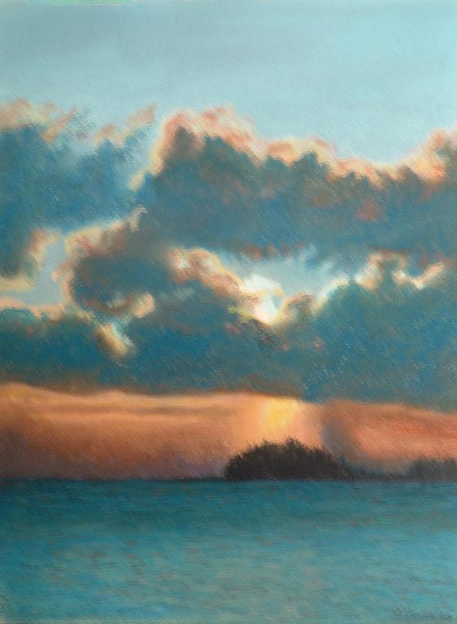 Sunshower Original Signed Soft Pastel Painting Painting by Lynn ACourt # Sunshower Lake_065423