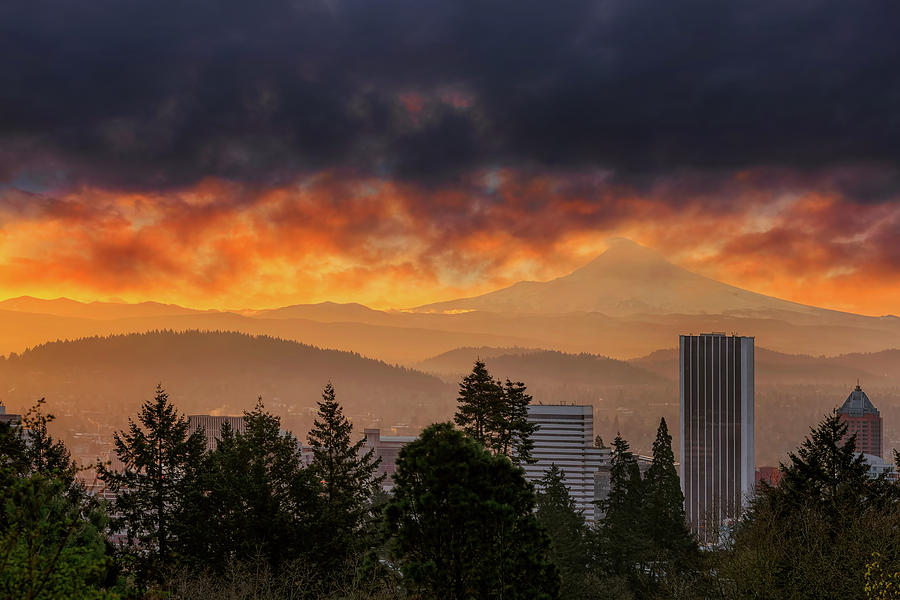 Portland Photograph - Sunsrise Over City Of Portland And Mount Hood by David Gn