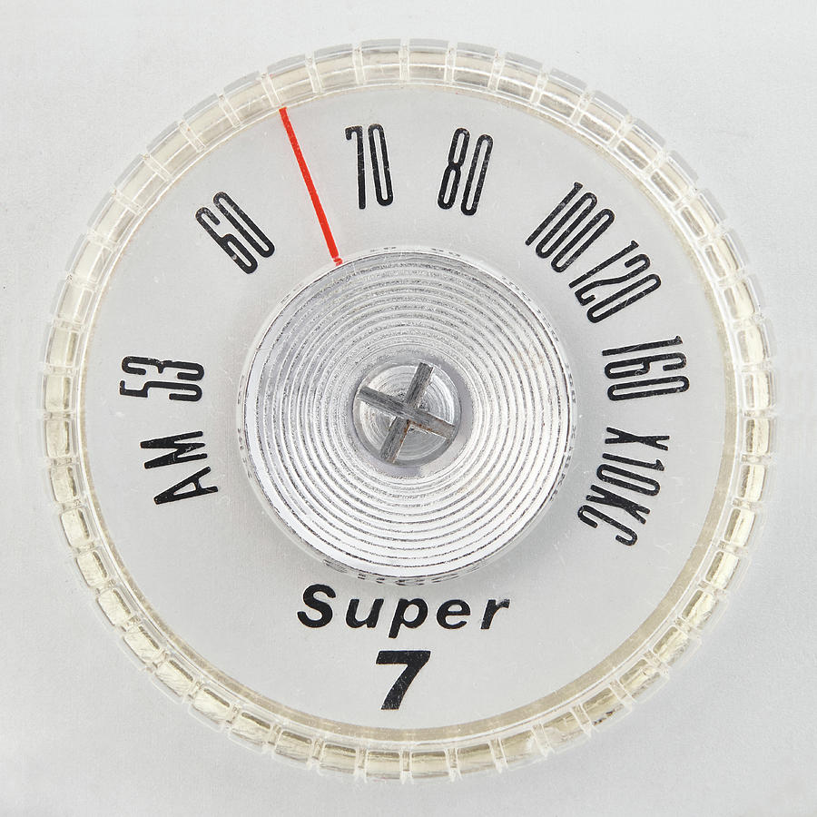 Mid Century Photograph - Super 7 Portable Radio Dial by Jim Hughes